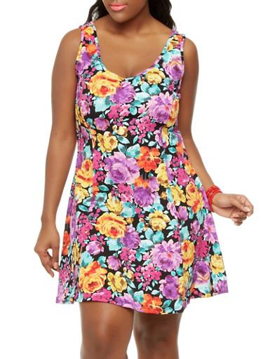 Plus Size Flower Child Skater Dress,BLACK,large
