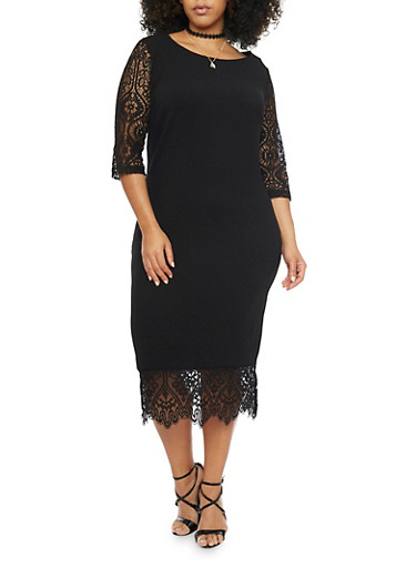Plus Size Knit Midi Dress with Lace Sleeves and Hem,BLACK,large
