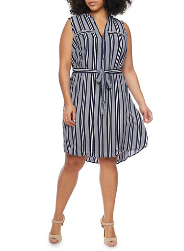 Plus Size Striped Dress with Belt,NAVY/WHITE,large