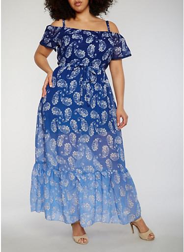 Plus Size Cold Shoulder Paisley Maxi Dress,BLUE,large