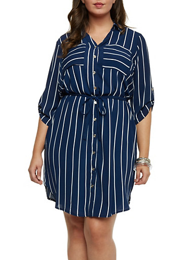 Plus Size Pinstriped Shirt Dress,NAVY/WHITE,large