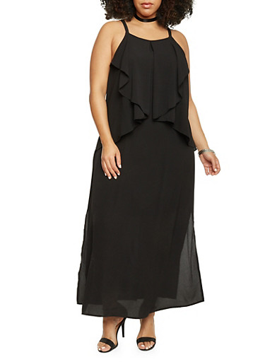Plus Size Sleeveless Double Layer Maxi Dress,BLACK,large
