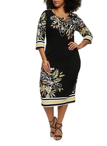 Plus Size Floral Border Print Midi Dress,BLACK/YELLOW,large