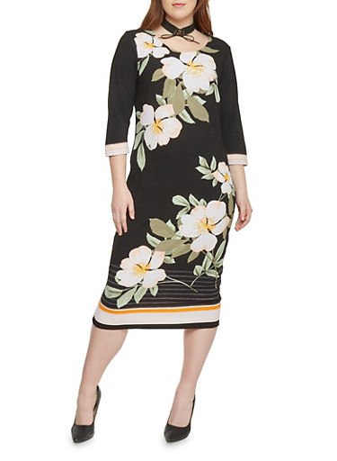 Floral Mid Length Dress With Back Keyhole,BLACK/PRINT,large