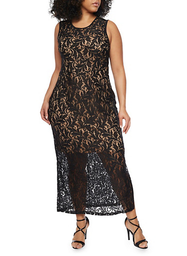 Plus Size Sleeveless Lace Maxi Dress with Back V Neck,BLACK,large