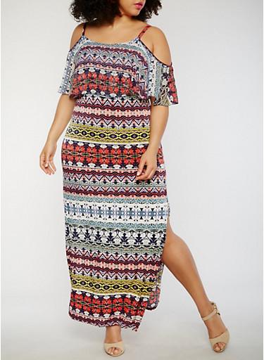 Plus Size Printed Cold Shoulder Maxi Dress,MULTI COLOR,large