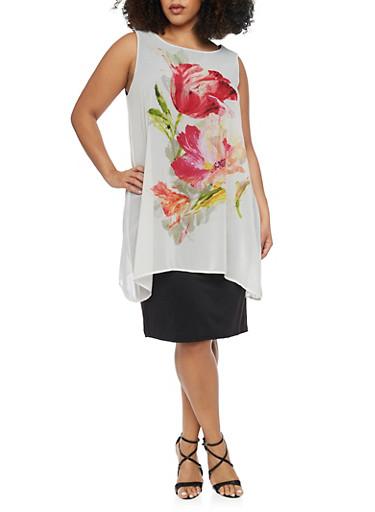 Plus Size Chiffon Floral Overlay Dress,BONE/BLACK,large