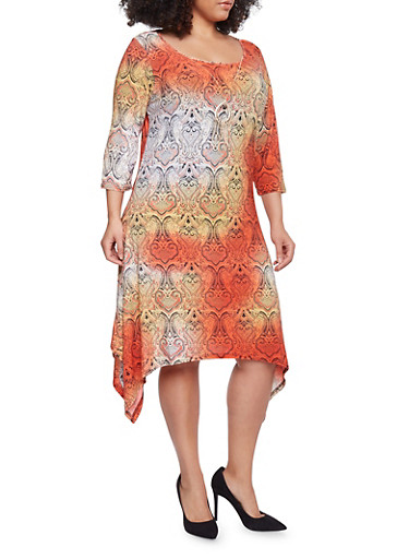 Plus Size Paisley Print Midi Dress with Necklace,CORAL/YELLOW,large