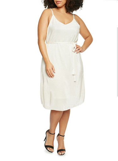 Plus Size Sleeveless Crinkle Knit Dress with Belt,IVORY,large