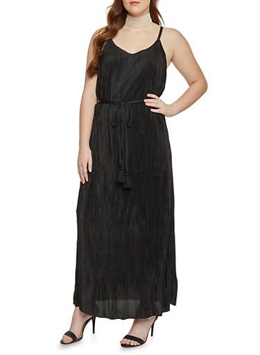 Plus Size Sleeveless Crinkle Maxi Dress with Open Back,BLACK,large