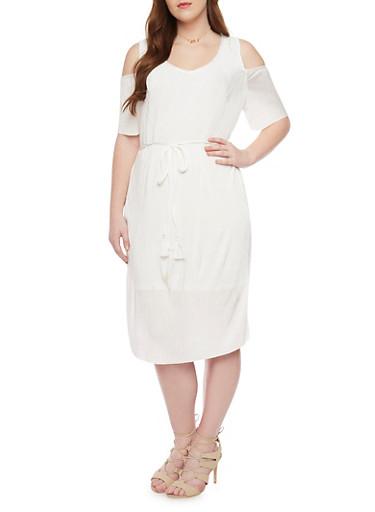 Plus Size Cold Shoulder Crinkle Knit Dress with V Neck and Tie Belt,IVORY,large