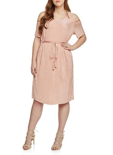 Plus Size Cold Shoulder Crinkled Dress,MAUVE,large