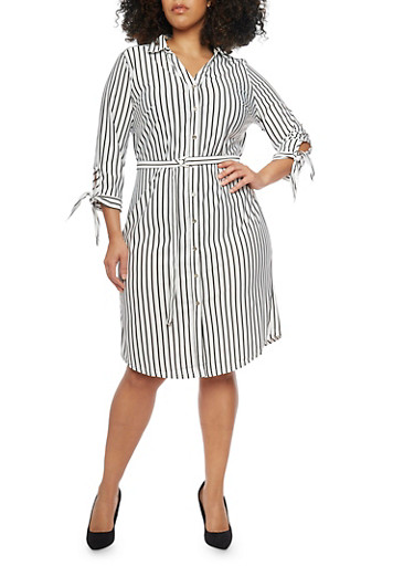 Plus Size Striped Shirt Dress with Tie Sleeves,IVORY/BLACK,large