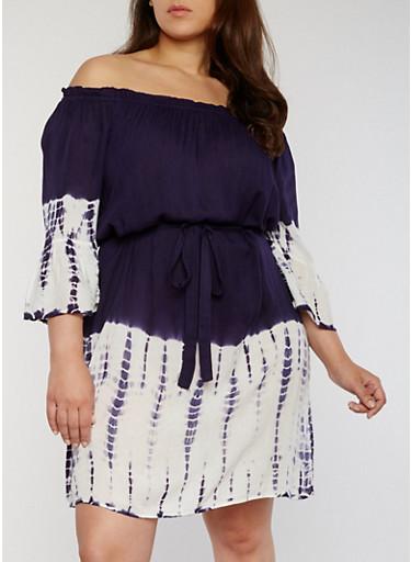 Plus Size Tie Dye Off the Shoulder Peasant Dress,NAVY,large