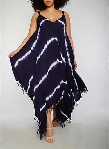 Plus Size Tie Dye Sharkbite Dress with Fringe Hem,NAVY/WHITE,large