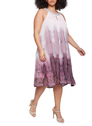 Plus Size Crinkled Tie Dye Dress with Studded Neckline,RASPBERRY,large
