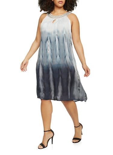 Plus Size Sleeveless Tie Dye Gauze Dress,BLACK,large