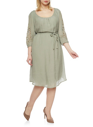Plus Size 3/4 Crochet Sleeve Dress with Tie Sash,SAGE,large