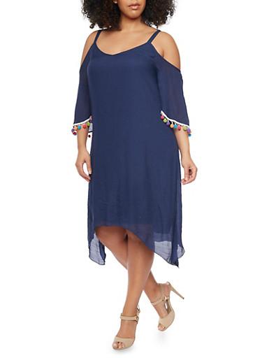 Plus Size Pom Pom Fringe Cold Shoulder Dress,NAVY,large