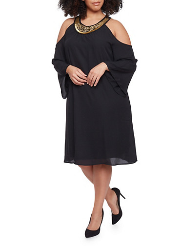Plus Size Cold Shoulder Flare Sleeve Dress with Embellished Collar,BLACK,large