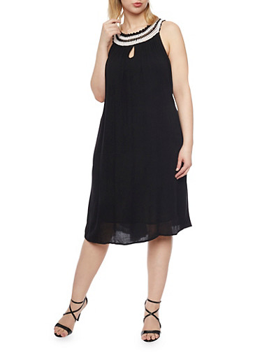 Plus Size Crinkle Knit Swing Dress with Crochet Neckline,BLACK,large