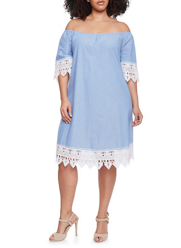 Plus Size Mid Length Off the Shoulder Shift Dress with Crochet Trim,BLUE,large