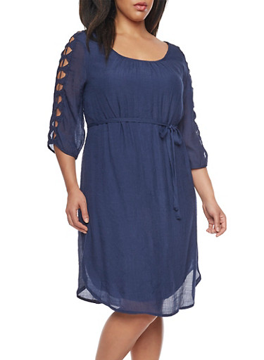 Plus Size Off Shoulder Peasant Dress with Crochet Detail Sleeves,NAVY,large