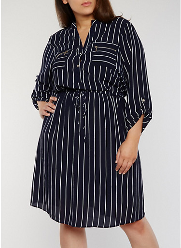 Plus Size Striped Shirt Dress with Tie Waist,NAVY/WHITE,large