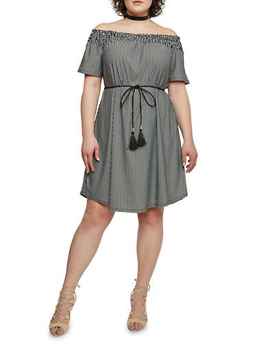 Plus Size Striped Off the Shoulder Shift Dress with Rope Belt,BLACK/WHITE,large