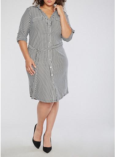 Plus Size Striped Belted Shirt Dress,BLACK/WHITE,large