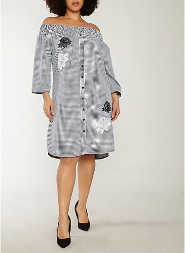 Plus Size Gingham Print Off the Shoulder Dress,BLACK/WHITE,large
