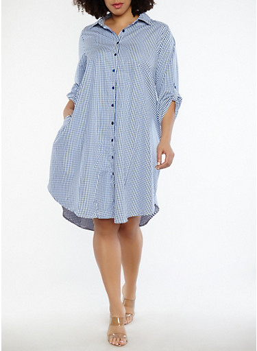 Plus Size Gingham Shirt Dress,NAVY-WHT,large