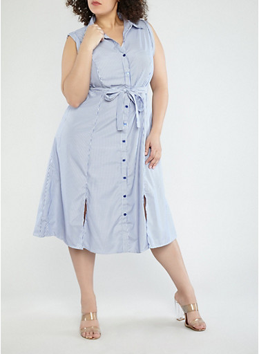 Plus Size Striped Belted Shirt Dress,NAVY/WHITE,large