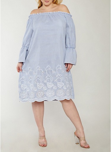 Plus Size Striped Off the Shoulder Dress,NAVY-WHT,large