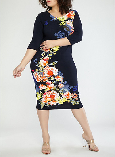 Plus Size Navy Floral Dress,NAVY,large