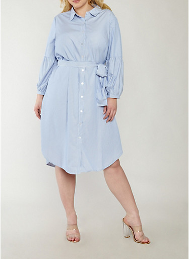 Plus Size Striped Bell Sleeve Shirt Dress,NAVY-WHT,large