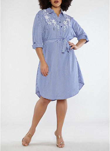 Plus Size Embroidered Stripe Dress,NAVY/WHITE,large