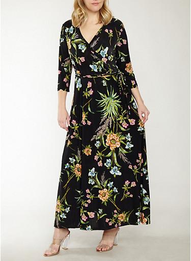 Plus Size Tropical Floral Faux Wrap Maxi Dress,BLACK,large