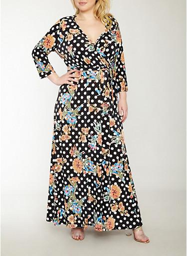 Plus Size Faux Wrap Floral Polka Dot Dress,BLACK,large
