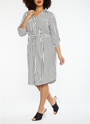 Plus Size Button Front Tie Waist Striped Dress,BLACK/WHITE,large