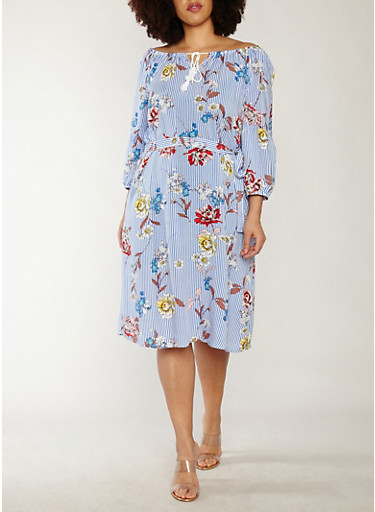 Plus Size Floral Striped Off the Shoulder Shift Dress,BLUE,large