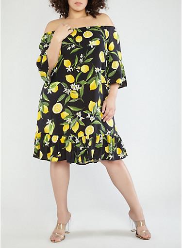 Plus Size Lemon Print Off the Shoulder Dress,BLACK/YELLOW,large