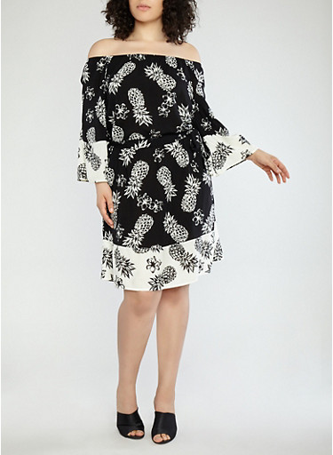 Plus Size Pineapple Border Print Off the Shoulder Dress,BLACK/WHITE,large