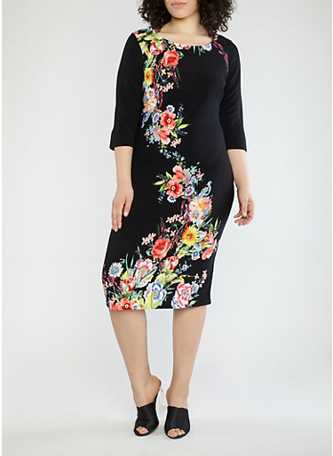 Plus Size Black Floral Midi Dress,BLACK,large
