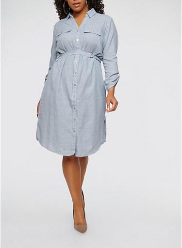 Plus Size Striped Button Front Shirt Dress,WHITE/BLUE,large