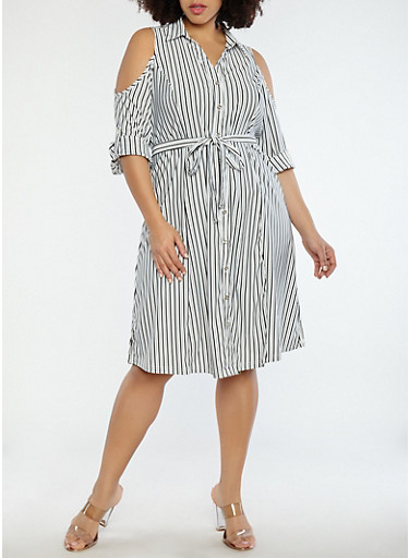 Plus Size Striped Cold Shoulder Dress,BLACK/WHITE,large