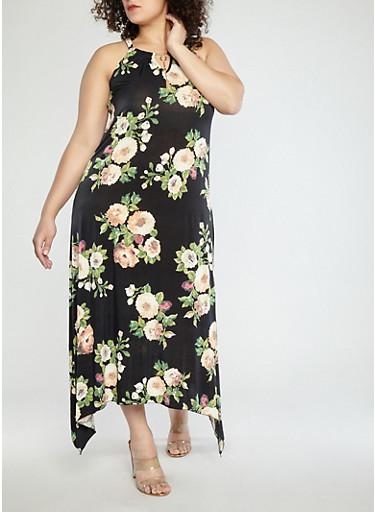 Plus Size Floral Maxi Dress with Metallic Neck Detail,BLACK/ROSE/CREME,large