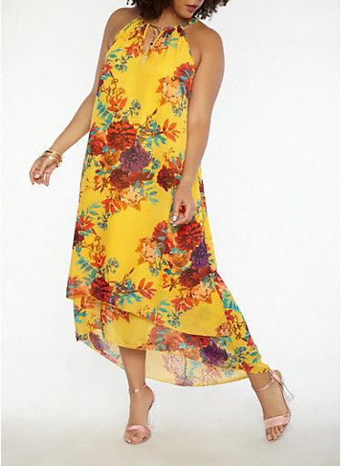Plus Size Floral High Low Dress,MUSTARD,large
