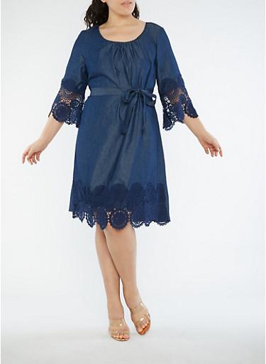 Plus Size Denim Knit Crochet Trim Dress,DENIM,large