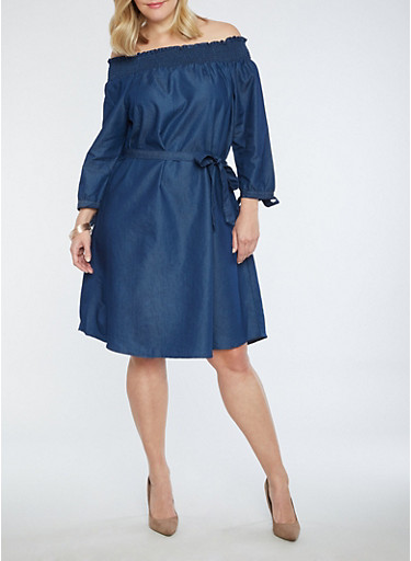 Plus Size Off the Shoulder Denim Dress,DENIM,large